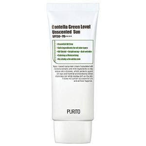 PURITO Centella Green Level Unscented Sun SPF50+ PA++++ 60ml / 2 fl.oz Coral reef safe sunscreen, Sun cream for face, Cica, UVA1,2 UVB, Broad spectrum, Lightweight, Sensitive skin, Essential Oil Free