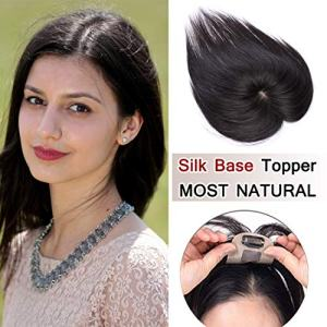 SEGO 100% Density Top Hair Pieces Silk Base Crown Topper Human Hair Clip