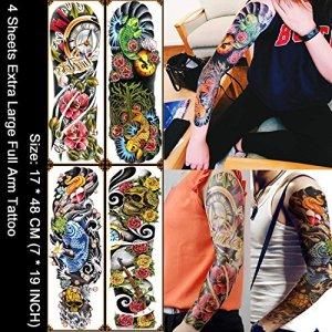 Kotbs 4 Sheets Extra Large Full Arm Temporary Tattoo Waterproof Tattoos Sticker