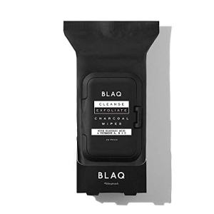 BLAQ Activated Charcoal Face Wipes | Dual Sided Charcoal Facial Cleansing Wipes | Great as Makeup Remover Wipes, Detoxifiying Face Wipes, Deep Pore Cleansing Facial Wipes - 25 Count
