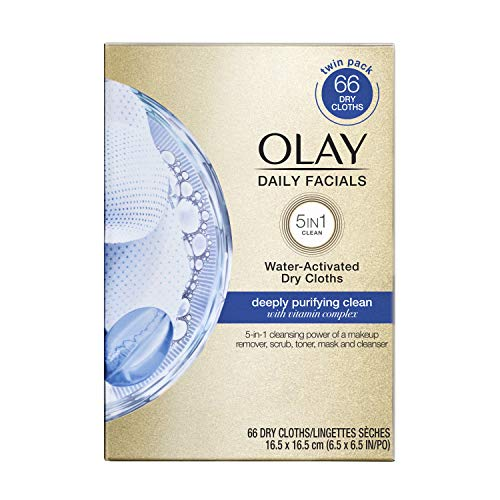 Olay Daily Facials 5-in-1 Water Activated Dry Cloths, Deeply Purifying Clean, 66 Count (Pack of 1) - Packaging May Vary