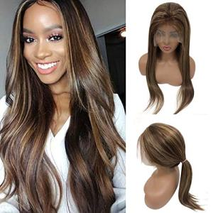 Balayage Human Hair Lace Front Wig Highlighted Color Medium Brown