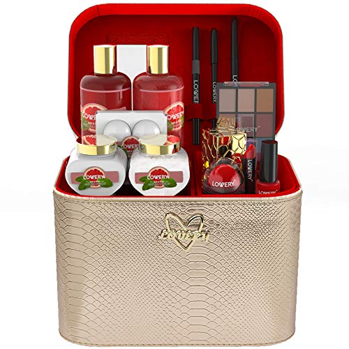 Premium Bath and Body Gift Basket For Women - 30 Piece Set, Pink Grapefruit Home Spa and Makeup Set, Includes Cosmetic Pencils, Lip Balms, Lotions, Perfume, Rose Gold Leather Cosmetic Bag & More