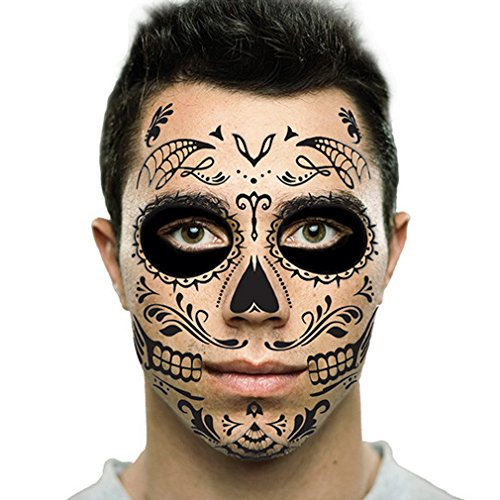 Black Web Sugar Skull Day of the Dead Temporary Face Tattoo Kit