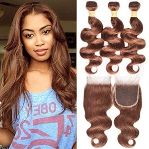 WOME Brazilian Remy Hair 3 Bundles Body Wave Hair Weaves With 4x4 Lace