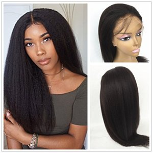 JYL Hair Italian Yaki 360 Lace Frontal Wig Pre Plucked Hairline Bleached Knots