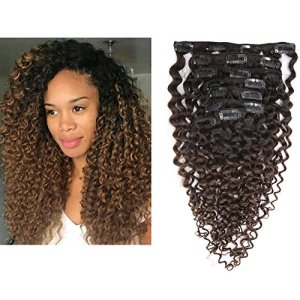 Clip in Human Hair Extensions Afro Jerry Curly 3B 3C Real Hair Clip