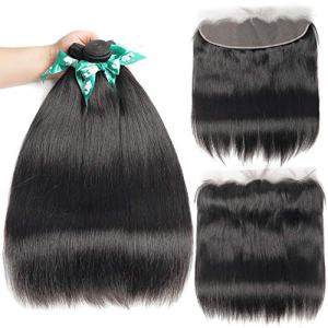 Beauhair Brazilian Straight Hair 3 Bundles With Frontal Closure
