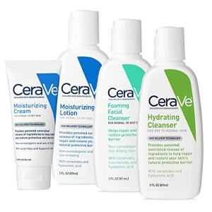 CeraVe Travel Size Toiletries Skin Care Set | Contains CeraVe Moisturizing Cream, Lotion, Foaming Face Wash, and Hydrating Face Wash | Fragrance Free