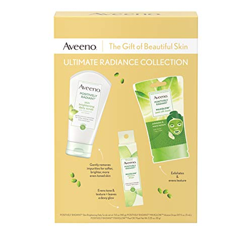Aveeno Ultimate Radiance Collection Skincare Gift Set with Brightening Daily Face Scrub, Peel-Off Face Mask, and Infusion Drops, Evens Skin Tone for Softer, and Glowing Skin, 3 items