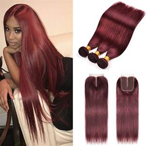 8A Brazilian Virgin Hair 99j Burgundy Straight Hair Weaves 3 Bundles
