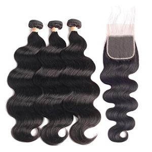Beaudiva Hair Brazilian Body Wave Human Hair 3 Bundles with Closure Free Part