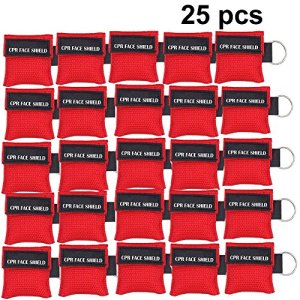 25pcs CPR Face Shield Mask Keychain Keying CPR Face Shields Pocket Mask