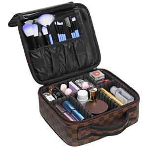 Travel Makeup Bag, Packism Professional Makeup Train Case Waterproof Leather
