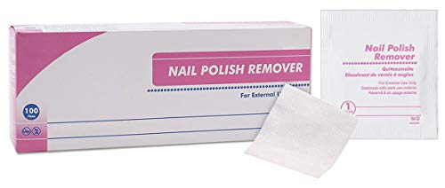 AMZ Nail Polish Remover Pads. Pack of 100 Acetone Free Remover wipes.