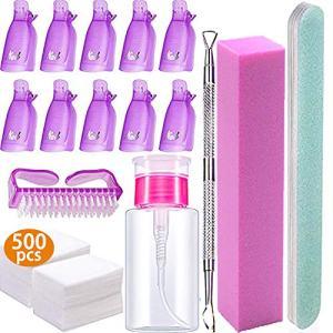 Nail Polish Remover Tools Kit - 500 Pcs Polish Remover Cotton Pads