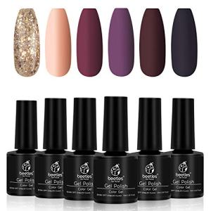 Beetles Fall Gold Glitter Gel Nail Polish Set - 6 Colors Red Purple Gel Polish Kit