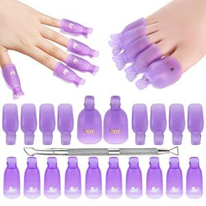 Makartt Gel Nail Polish Remover Clips Kit with 20 Pcs Resuable Finger and Toenail