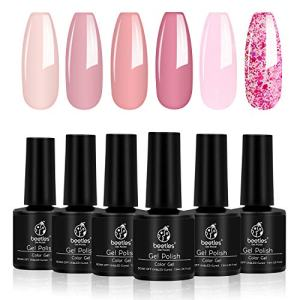 Beetles Pink Confetti Gel Nail Polish Kit- 6 Colors Nude Pink Series Gel Polish