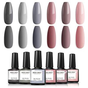 Modelones Gel Nail Polish Set - Nude Gray Series 6 Colors Gel Polish Set