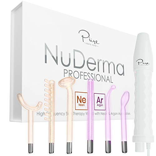 NuDerma Professional Skin Therapy Wand - Portable Handheld High Frequency Skin