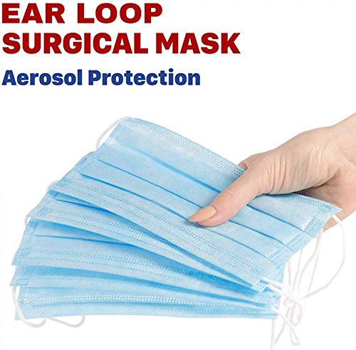Medical Mask Disposable Face Mask (Blue-50Pcs) Professional 3-Layer Anti Dust Disposable Mouth Masks, Professional 3-Layer Thicker Anti Dust Breathable Disposable Earloop Face Mask, Comfortable Sanitary Surgical Mask,Simple to make use of.Good match for each face.