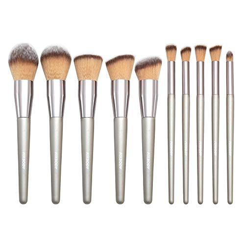 FIXBODY Makeup Brush Sets - 10 PCS Wood Handle Soft Synthetic fiber hair