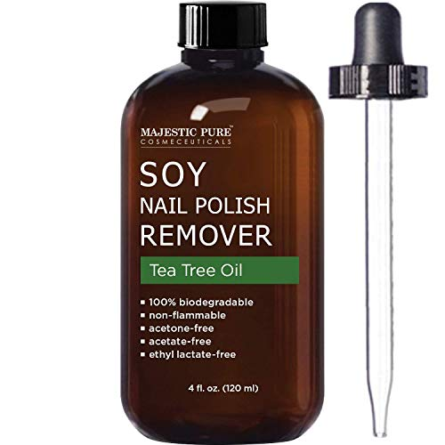 MAJESTIC PURE Soy Nail Polish Remover - Natural Acetone Free for Fingernail