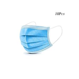 10Pcs Profession Medical Mask, 3-Layer Disposable Anti-Dust Earloops Facial