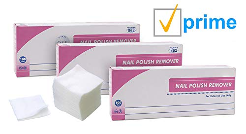 AMZ Nail Polish Remover Pads. Pack of 100 Acetone Free Remover wipes.   NAIL POLISH REMOVER WIPES: Acetone free pads help remove nail polish whenever and wherever you desire without the mess. They are specially designed to be safe for nails and cuticle. Come in individual packs for convenience. 100 pads per box. HOME & ON-THE-GO: Each pad is individually sealed, making them great for travel and on-the-go use. Remove your nail polish quickly and easily. Not made with natural rubber latex. Cleansing pads do not contain acetone and will not dry out cuticle. EASY TO USE: Open packet. Press saturated pad lightly over the nail to enable remover to penetrate the layers of polish. Wait for a few seconds and rub off nail polish. A second application may be necessary to remove layers of dark nail polish or many layers of nail polish. SAFE & CONVENIENT REMOVAL: These saturated pads can remove multiple coats of dried polish, including dark colors. Acetone-free nail polish remover pads will keep your nails moisturized and conditioned while removing nail polish easily. 2-ply material is strong and soft on skin. WARNING: Keep away from heat and flame. Keep out of reach of children. Wash hands with soap before and after use. In case of accidental eye contact, immediately flush eyes with plenty of water.   Acetone Free Nail Polish Remover Pads Effectively remove nail polish Product details: Individually wrapped 2-ply non-woven material Quantity: 100 pcs Packaged: 100 pads per box, each pad is individually wrapped Not made with natural rubber latex Premoistened pads are appropriate for different nail polish types. Effective cleansing wipes featuring an acetone-free formula. Acetone free pads help remove nail polish whenever and wherever you desire without the mess. They are specially designed to be safe for nails and cuticle.These individually packaged polish remover wipes are perfect for home and professional salon nail manicures. Wipes are premoistened with an effective formula for