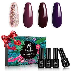Beetles Gel Nail Polish Set, Pink Glitter Purple Dark Brown Gel Polish Kit Red