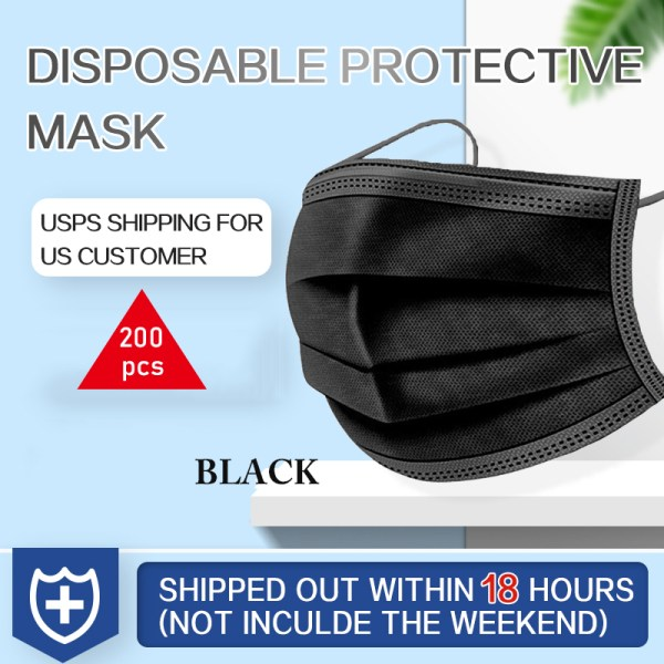 200PCS YIGANERJING US Ship Within 24h Dropshipping Personal Disposable BLACK Face Mask Mouth Cover One-time medical mask
