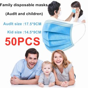 100% Original Blue Mouth Mask Face Safety Mouth Masks 3 Layer Disposable Anti-Virsus Earloops Facemasks Fast Shipping 12 Hours