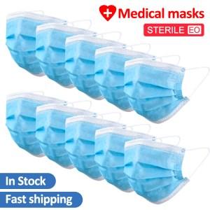 200 PCS Medical Face Mask Surgical Medical Blue Protective Disposable Mouth Masks 3 Layer Masks Gaz Maskesi