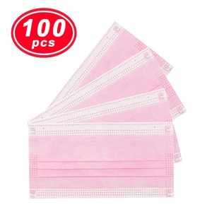 100PC YIGANERJING US medical mask Non Woven Disposable Face Mask pink mask 3 Layers Earloop Masks Bacteria Proof Face Mouth Mask