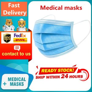 Disposable Medical Masks 3 Layer Filter Non-woven fabrics Mask Disposable Surgical Face Mask In stock 12Hour Fast Delivery