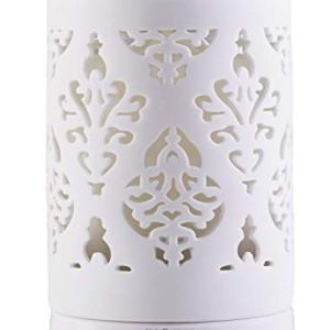 Essential Oil Diffuser, White Aroma Ceramic Diffuse with 4 Timer Mode&7 Color Changing LED Lights (Damask)