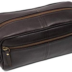 Leather toiletry bag dopp kit for men shaving pouch makeup purse travel organizer gift for men & women
