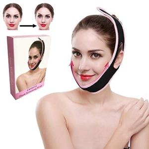 Face Lifter Strap Chin Slimmer Belt, Double Chin Reducer Patch Facial Shaper Bandage Ultra-Thin V Face Anti Wrinkle Slim Up Band Mask for Women Men Round Face (2 Pack)