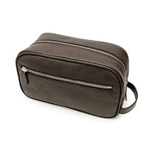 Maruse Italian Leather Toiletry Travel Bag with 2 Zippered Closures for Men and Women, Handmade in Italy, Brown