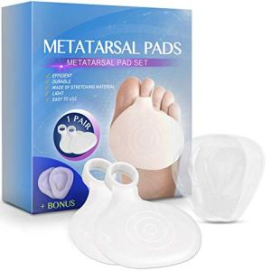 WALKINGLY Set of Metatarsal Pads (1 Pair) - Soft Gel Ball of Foot Cushions for Rapid Pain Relief for Woman & Man - Mortons Neuroma Callus Metatarsal Foot Bunion Forefoot Cushioning Relief (Medium)