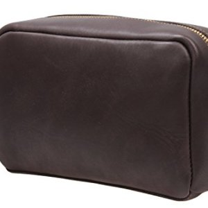 Iblue Leather Toiletry Bag Travel Dopp Kit Shaving Organizer Brown i517 (Dark Brown)