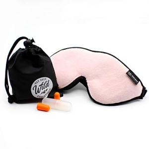Wild Essentials® Escape™ Luxury Plush Sleep Mask Kit with Eye Cavities, Earplugs and Carry Pouch, Gift Set (Peacefully Pink)