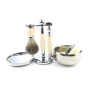 VICYUNS Luxury Grooming Shaving Set for Men Including Double-sided Razor, Allergy Shaving Soap, Stainless Steel with Mirror Bowl, Hair Shaving Brush,10 Replacement Blades (Ivory Color)