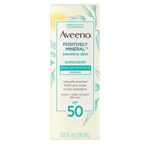 Aveeno Positively Mineral Sensitive Skin Daily Sunscreen Lotion for Face, Broad Spectrum SPF 50 with 100% Zinc Oxide, Lightweight & Non-Comedogenic Sheer Facial Sunscreen, Travel-Size, 2 fl. oz
