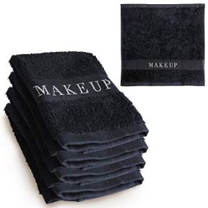 The Little Black Towel Makeup Remover Cloth - Luxury Washcloths for Gentle Face Wash, Removing Eye Liner, Mascara, plus Foundation Eraser. Bleach Resistant, Soft Jacquard Lettering, Pack of 4