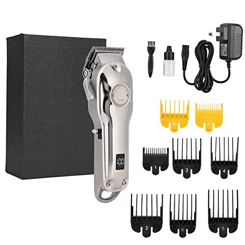 Electric Hair Clipper, Professional Rechargeable Hair Clipper Hair Trimmer Waterproof Hair Cutting Machine Hairdressing Tool US Plug 100-240V(Silver)