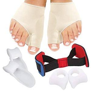 Bunion Corrector and Bunion Relief Sleeves Kit - Hallux Valgus Bunion Protector - Bunion Toe Separator, Toe Spacer, Toe Straightener and Toe Spreader - 7 Pieces