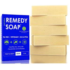 Remedy Natural Tea Tree Oil Soap Bar for Men/Women (Pack of 5) – w/Peppermint & Eucalyptus - Face & Body Soap for Acne, Body Odor, Skin Irritations & All Skin Types by Truremedy Naturals