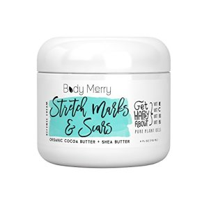 Stretch Marks & Scars Defense Cream Daily Moisturizer w Organic Cocoa Butter + Shea + Plant Oils + Vitamins to Prevent, Reduce and Fade Away Old or New Scars Best for Pregnancy, Men/Bodybuilders (4oz)